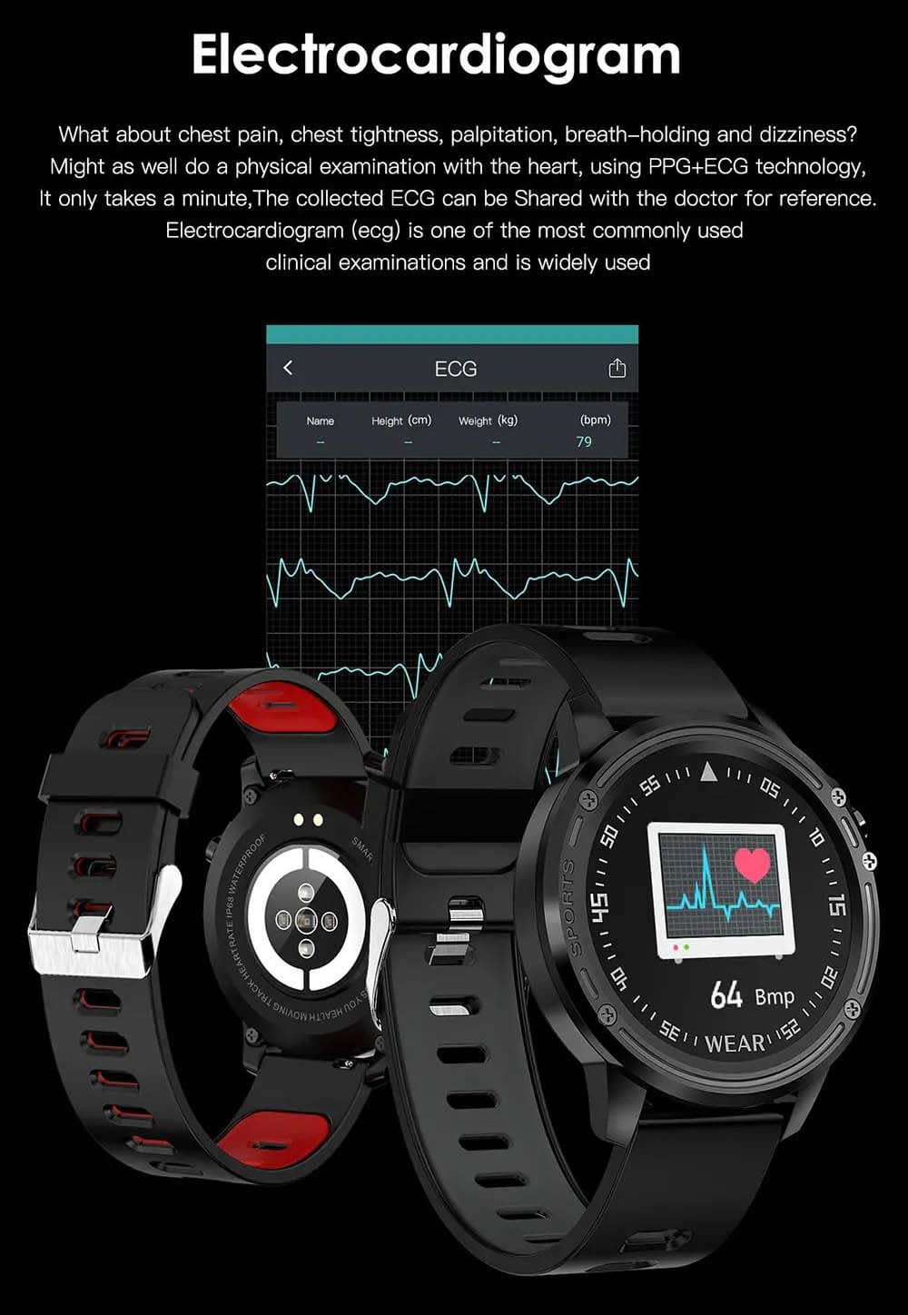 L8 Smart Watch ecg ppg heart rate blood press (30)