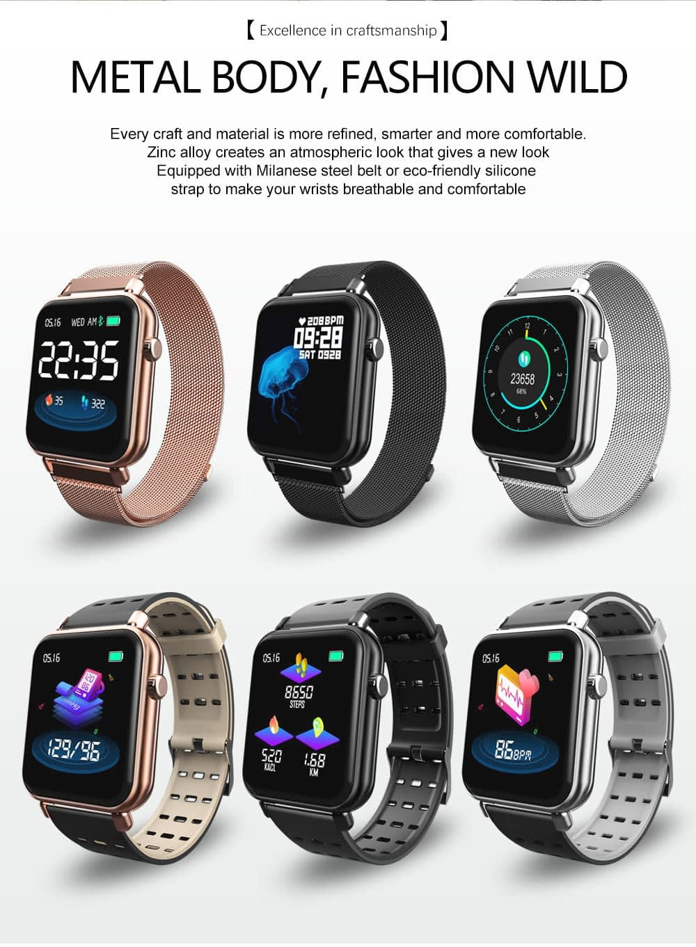 Y6 pro Smart watch fun dynamic icon hr blood pressure (21)