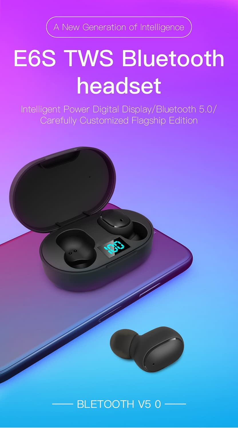 E6s tws bluetooth 5.0 earbuds digital display earphone (6)