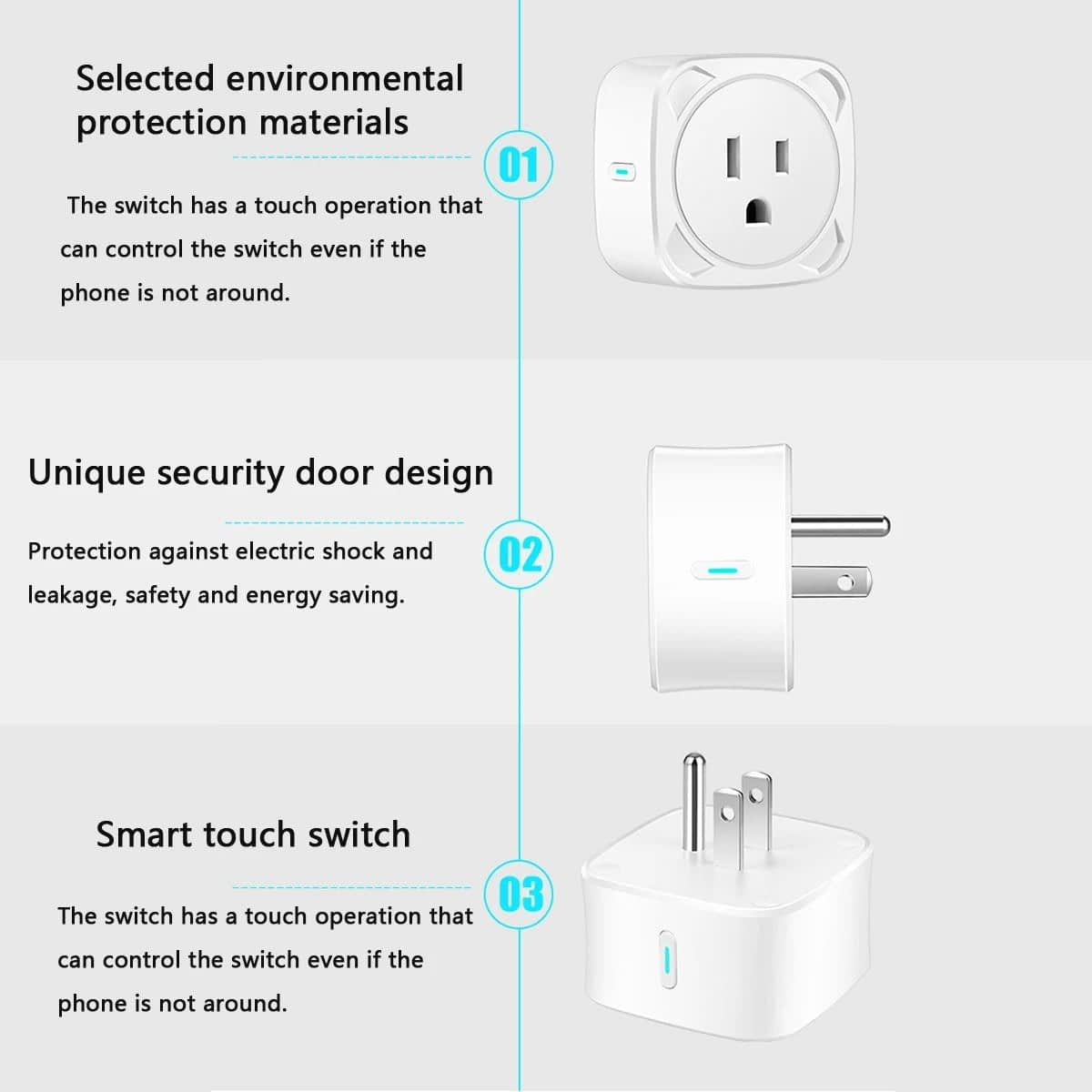 SP11 10A WiFi Smart Plug Socket Switch US Plug Remote control Power Strip Timing (4)