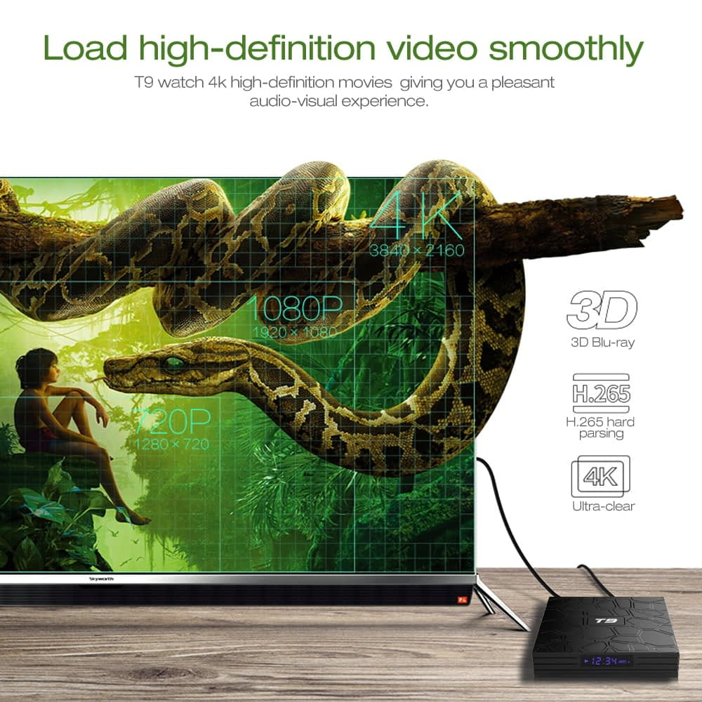 Firefly T9 Android Smart TV Box RK3318 Quad core cortex A53 4G DDR3 32G flash Android 9 13
