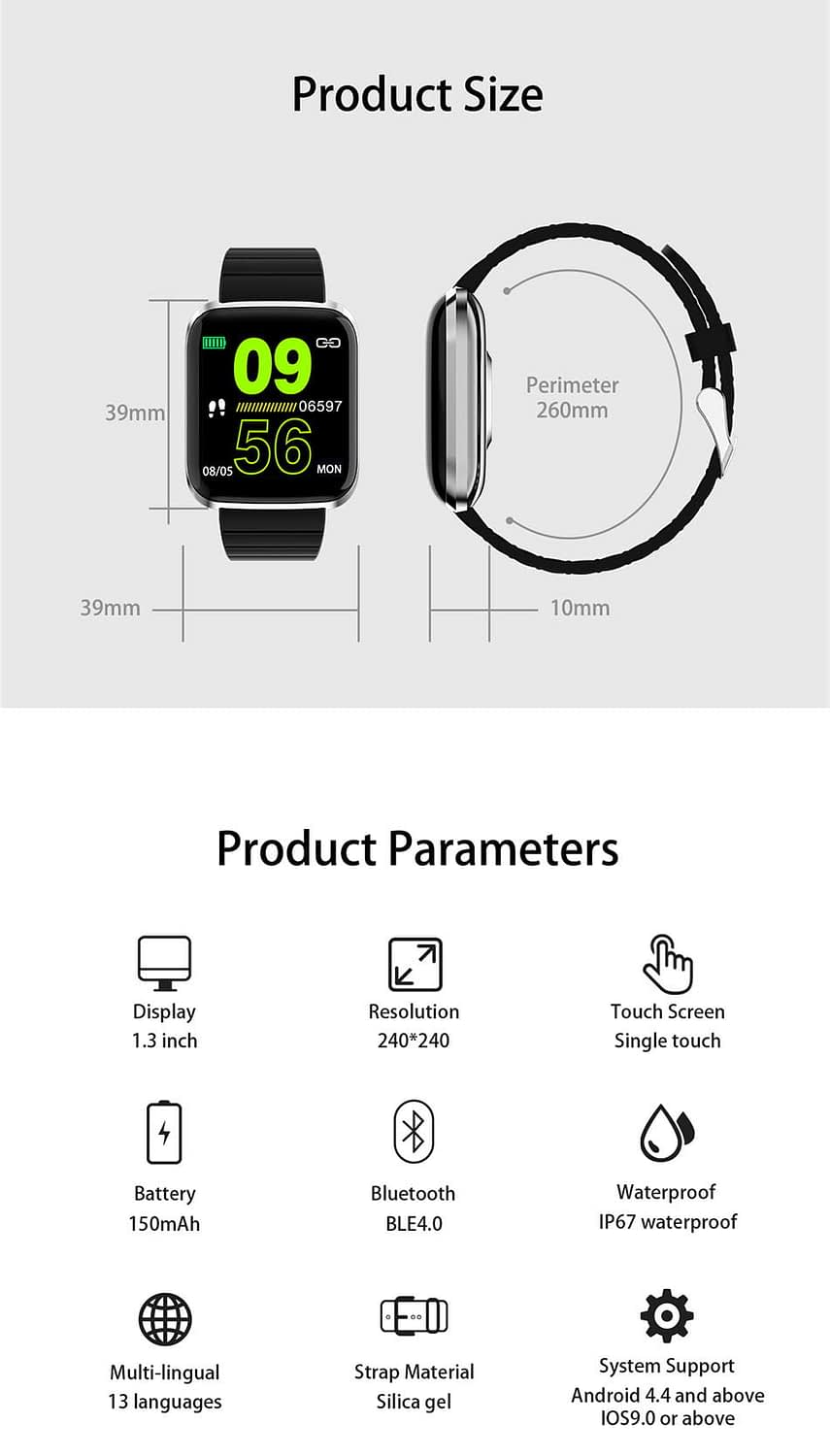 116 pro smart watch 1.3 inch heart rate blood pressure watch (7)