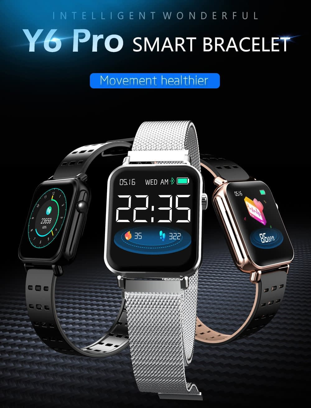 Y6 pro Smart watch fun dynamic icon hr blood pressure (15)