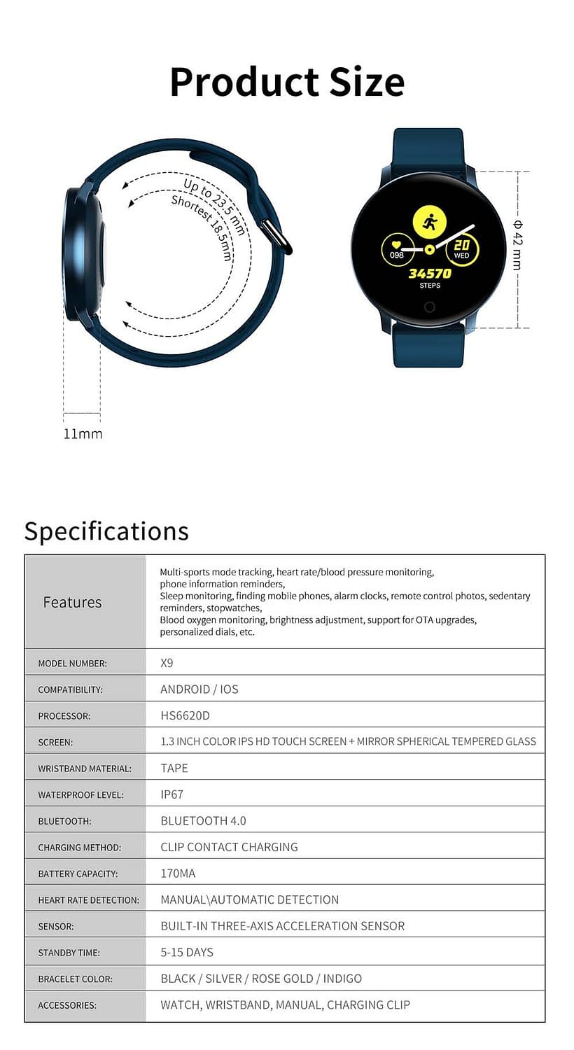 X9 1.3 inch heart rate blood pressure monitor smart watch (6)